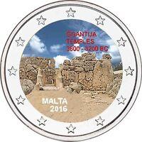 Malta 2 Euro 2016 Ggantija Tempel Gedenkmünze Prähistorische Stätten in Farbe