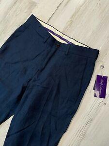 NWT Ralph Lauren Purple Label Linen Pants Size 28 Blue Straight Slim