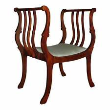 Vintage Mahogany French Regency Style Curule Bench Upholstered Vanity Chair
