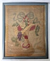 Antique Victorian Flower Basket Netting Embroidery Needlepoint Framed 17x21""