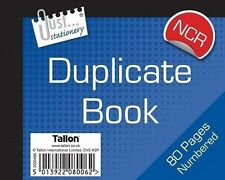 Blank Half Size Duplicate Receipt Book Ruled Number 1-80 NO CARBON REQD (loc.D24