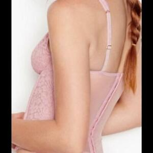 USED Victoria's Secret Pink Violet Pearl Dream Angels Floral Lace Corset 36D