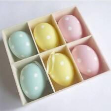 Gisela Graham Easter Decorations - 6 Pastel Polka Dot Eggs - Hanging Easter Decs