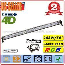 50inch RGB LED Light Bar Cree 4D Off Road 288W Auxiliary Lightbar Combo Beam