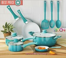 NONSTICK COOKWARE SET Blue Ceramic Coating 12 Pieces Pots Pans Cooking Kitchen