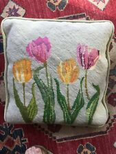 "Vintage Needlepoint Decorative TULIPS FLORAL Pillow Flowers Velvet 14"" Sq"