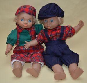 "2 x JUMACO Expression Dolls Blue Eyed Blonde Tartan Outfits 16"" Vintage"