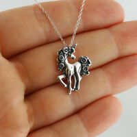 Unicorn Necklace - 925 Sterling Silver - Pendant Horn Mythical Creature Flowers