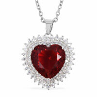 """Silver Chain Beads Pendant Necklace Red Glass Cubic Zirconia CZ Size 20"""" Ct 8.3"""