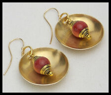 RED JADE GONGS - Handmade Tibetan Red Jade Beads - Handforged Bronze Earrings