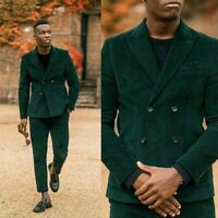 Green Corduroy Men Suits Wedding Slim Fit Double Breasted Blazer Pants Tailored