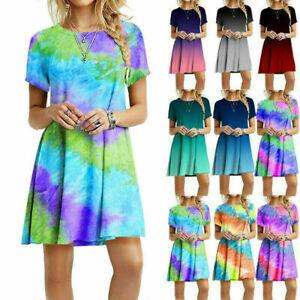Damen Sommer Kurzärmelig Freizeit Kurzes Kleid Rundhals Batik Aufdruck Locker #