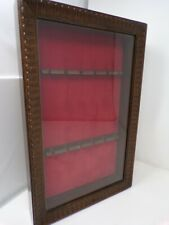 Vintage wood 12 spoon display wall rack with Glass Door collector 442