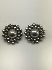 Clip-On 19.8 Grams, Signed Dulce Mexico Sterling Silver Orb Floral Earrings