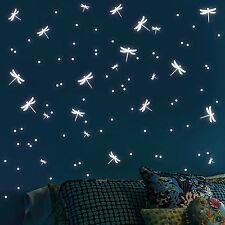 Sticker mural fluorescent libéllules et pois en Jeu Autocollant lumineux lumière