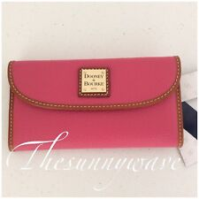 New Dooney Bourke Continental Clutch Wallet Pebble Grain Leather Pink Brown NWT