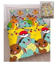 Pokemon Catch Pikachu Reversible Double Duvet Cover Bedding Set Boys Xmas Gift
