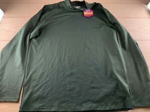 Under Armour Men's UA Fitted Cold Gear Green Long Sleeve Pullover Sweater Sz 3XL