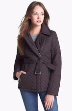 NEW DKNY QUILTED JACKET IN BARK BROWN COLOR WITH FAUX LEATHER TRIM, SIZE M
