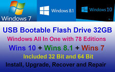 Windows 78 Editions Wins 7, 8.1, 10 Bootable USB 32 Bit 64 Bit Install Repair