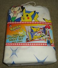 Vintage 1996 Pokemon Twin Jersey Knit Sheet Set Bed Pillowcase VHTF NIP