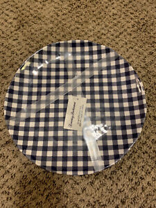 "TOMMY BAHAMA Plaid Gingham Melamine Dinner Plates 11"" Navy Checked Set 4 New"