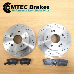 Audi A4 1.6 05-06Rear Brake Discs & Pads MTEC Premium Drilled Grooved