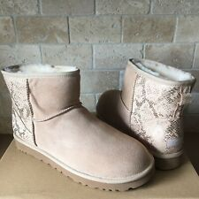 f0002a00c216 UGG Classic Mini Metallic Snake Gold Suede Boots Size US 12 Womens
