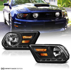 {SHELBY GT STYLE} 10-14 Ford Mustang Factory Look Black Headlight Driving Lamp