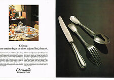 PUBLICITE ADVERTISING  1981   CHRISTOFLE   art de la table ( 2 pages) CHINON