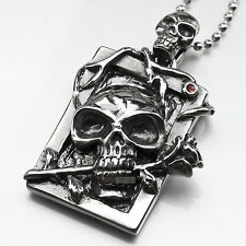 pendant necklace stainless steel cz gothic vintage silver style skull rose