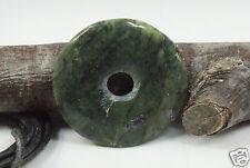 Donut Anhänger STICHTIT IN SERPENTIN ca. 40 mm, Lederband, Pi-Scheibe, PI-Stein