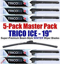"5 Pack 19"" WINTER Wiper Blades Super-Premium Beam-Style Trico ICE 35-190 (x5)"