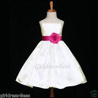 IVORY/FUCHSIA HOT PINK WEDDING PARTY BABY FLOWER GIRL DRESS 12M 2/2T 4 6 8 10 12