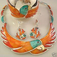 Taxco Mexican 950 Silver Multicolor Parrot Bird Necklace Mexico