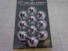 "10-PACK PLASTIC CHROME BULLET DESIGN 1-1/2"" X 2-3/8"" HEX LUG NUT COVERS #048-610"