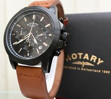 Rotary Mens Watch Chronograph Date Brown Leather RRP £250 Boxed (r109