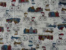 one yard Vintage cityscap transportation theme mini print cotton quilt Fabric