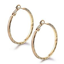 18k Yellow Gold Filled Round Big Dangle Hoop Sleeper Clip On Earrings Jewelry