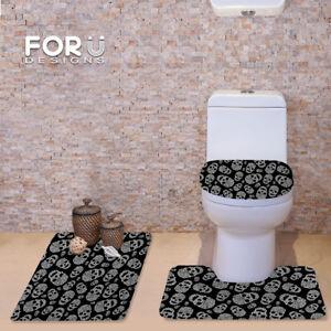 Black Skull Fashion Toilet Covers 3pcs Set Bathmat Water Absorbing Carpet Rugs