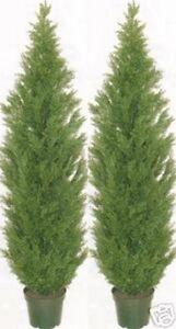 "Two 6' Artificial Cedar Topiary Tree Outdoor UV Bush Cypress Pine Deck Pool 72"""
