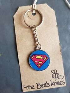 Superman enamel charm handmade earrings silver keyring UK Seller
