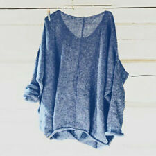 Women Oversized T Shirt Knitting Sweater Loose Blouse Pullover Jumper Baggy Top
