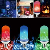4 Modes LED Flame Effect Simulated Nature Fire Light Lamps Decor Bulb Home Z1S8