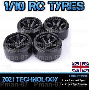 PREMIUM 1/10 Hard Drift Racing Nitro Car RC Wheel and Tire Tyre x 4 62mm