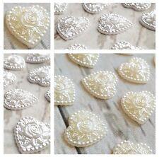 10x Flower Heart Stick on Gems. Ivory / White Wedding Invites Topper Card Floral