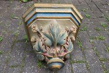 Antike Wandkonsole / Konsole Stuck & Holz gefasst Blumen / Blätter