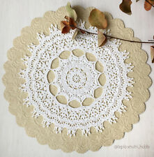 Hand crocheted lace white doily cotton handmade gift idea