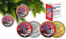 BUFFALO BILLS Christmas Tree Ornaments JFK Half Dollar US 2-Coin Set NFL