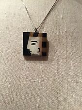 Onyx Brass Inlay Face Necklace Vintage! Unique Mexico Sterling Silver